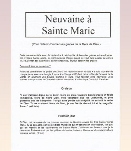 Neuvaine Sainte Marie