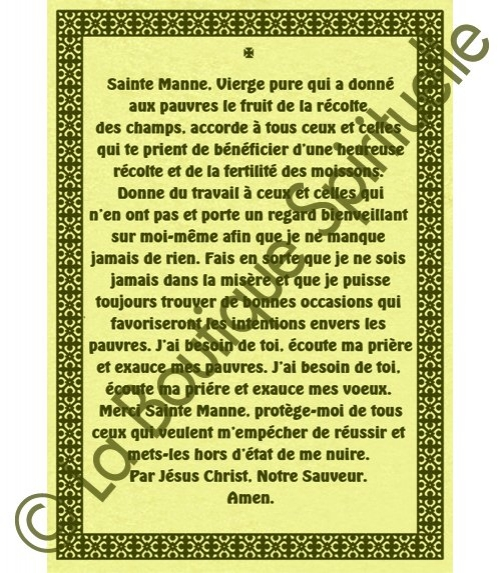 Parchemin Sainte Manne